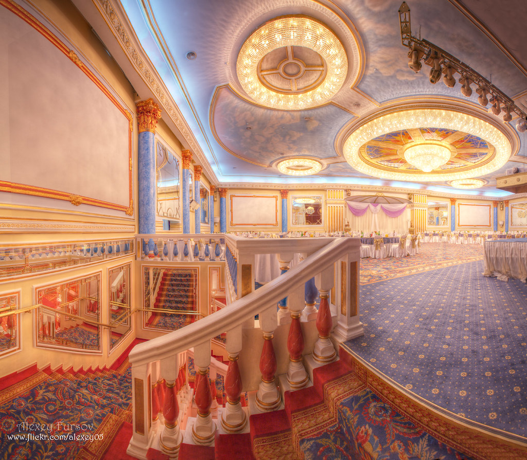 Restaurant large interior hdr panorama made