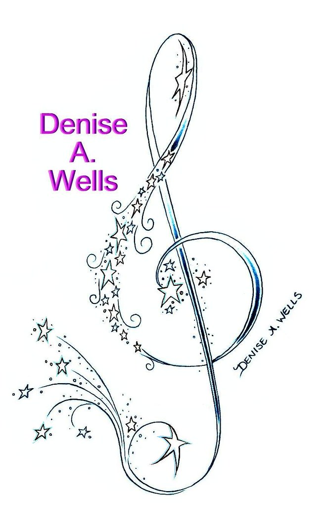 treble clef and stars tattoo design by denise a wells flickr. Black Bedroom Furniture Sets. Home Design Ideas