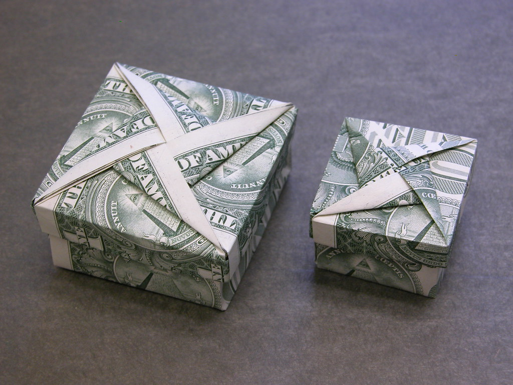 Dollar Bill Square Box With Star