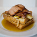 French toast of brioche with caramelised banana, bacon and maple syrup