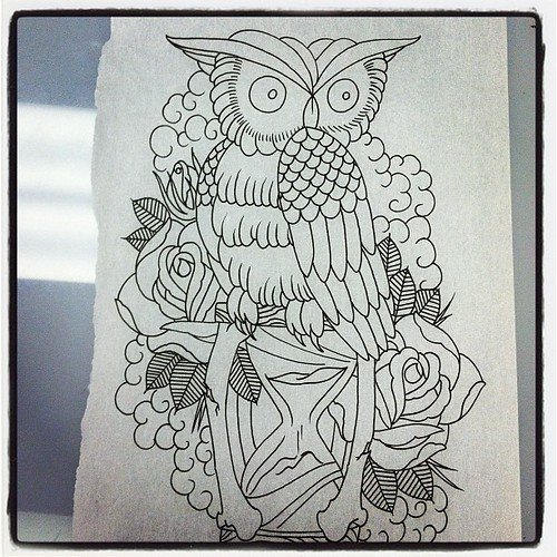 Tattoo Sketch Outline Flash Rose Owl Hourglass Getting Caught
