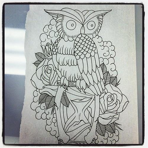 Tattoo Sketch Outline Flash Rose Owl Hourglass Gett Flickr