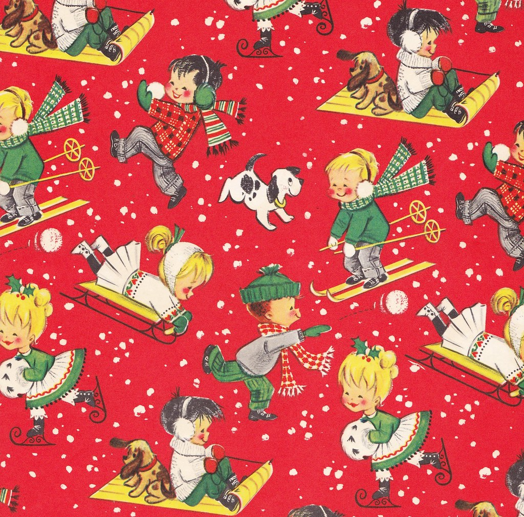 Vintage christmas wrap children in snow heather david for Paper christmas gifts
