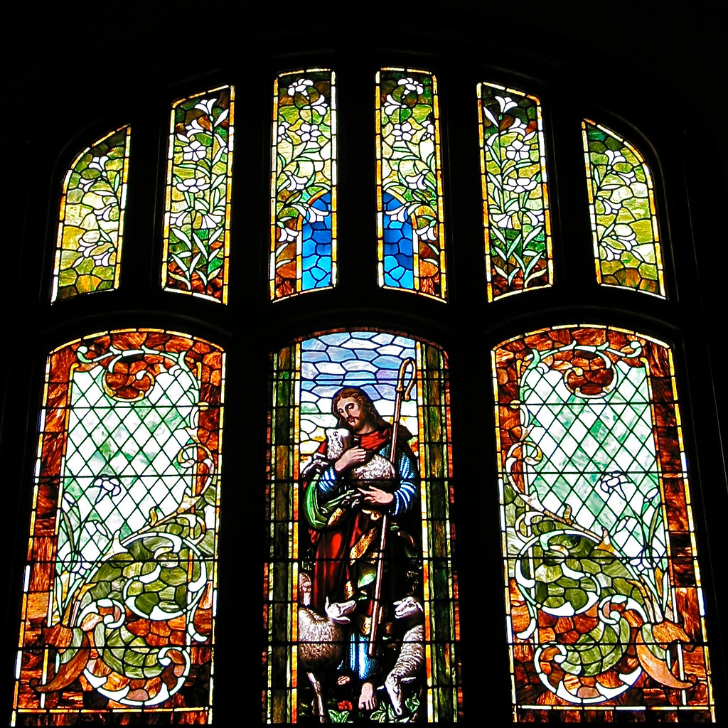 United methodist church 1892 93 interior stained glas for V window design