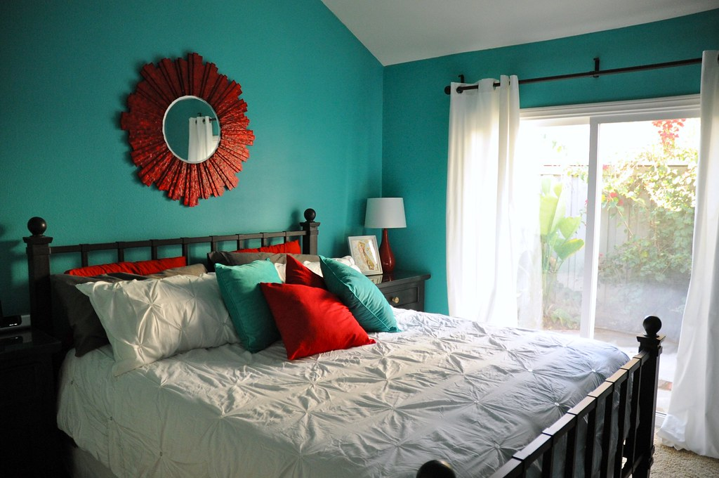 Aqua And Red Master Bedroom Makeover Found On My Blog