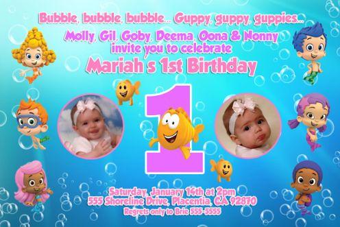 Girls Bubble Guppies 1st 2nd 3rd Birthday Invitations