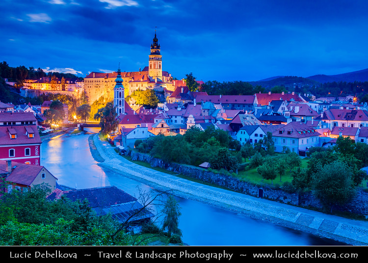 Czech Republic - Cesky Krumlov Castle Towering over Vltava River at Dusk - Twilight - Blue Hour