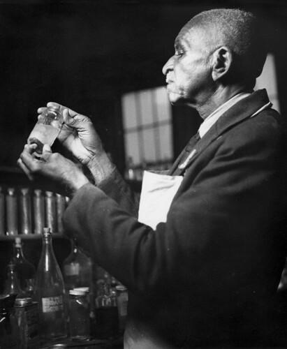 Dr. George Washington Carver shown at work at Tuskegee University, AL