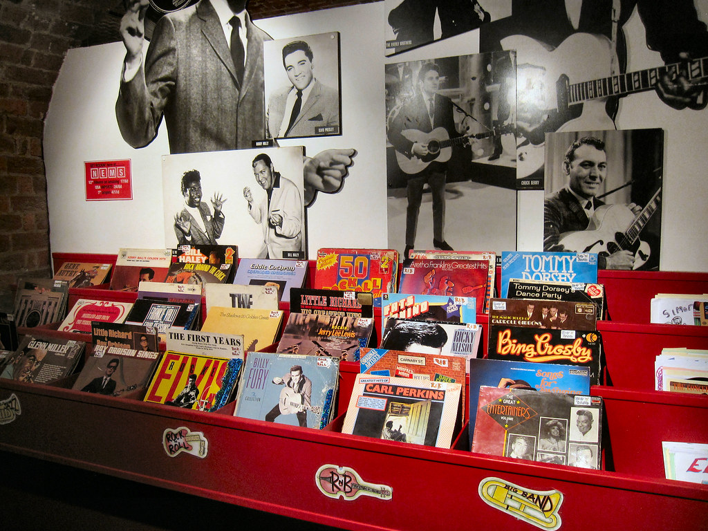 A 1960s RECORD SHOP. LIVERPOOL UK. | A recreation of how ...