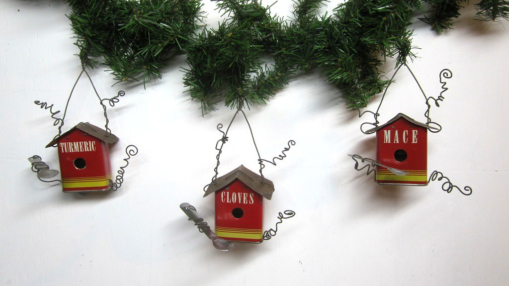 Vintage Spice Tin Birdhouse Christmas Tree Ornaments | Flickr