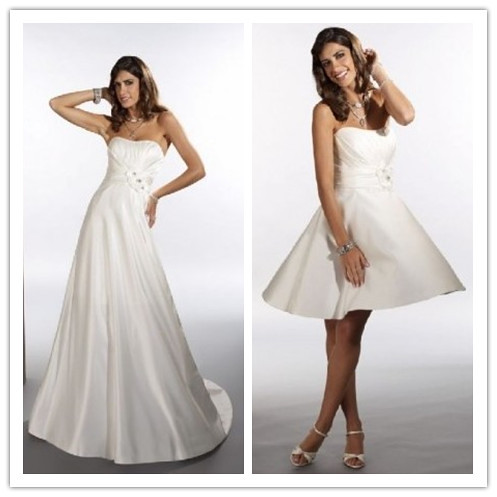 Satin strapless empire 2 in 1 wedding dress 1 strapless for Wedding dresses 2 in 1