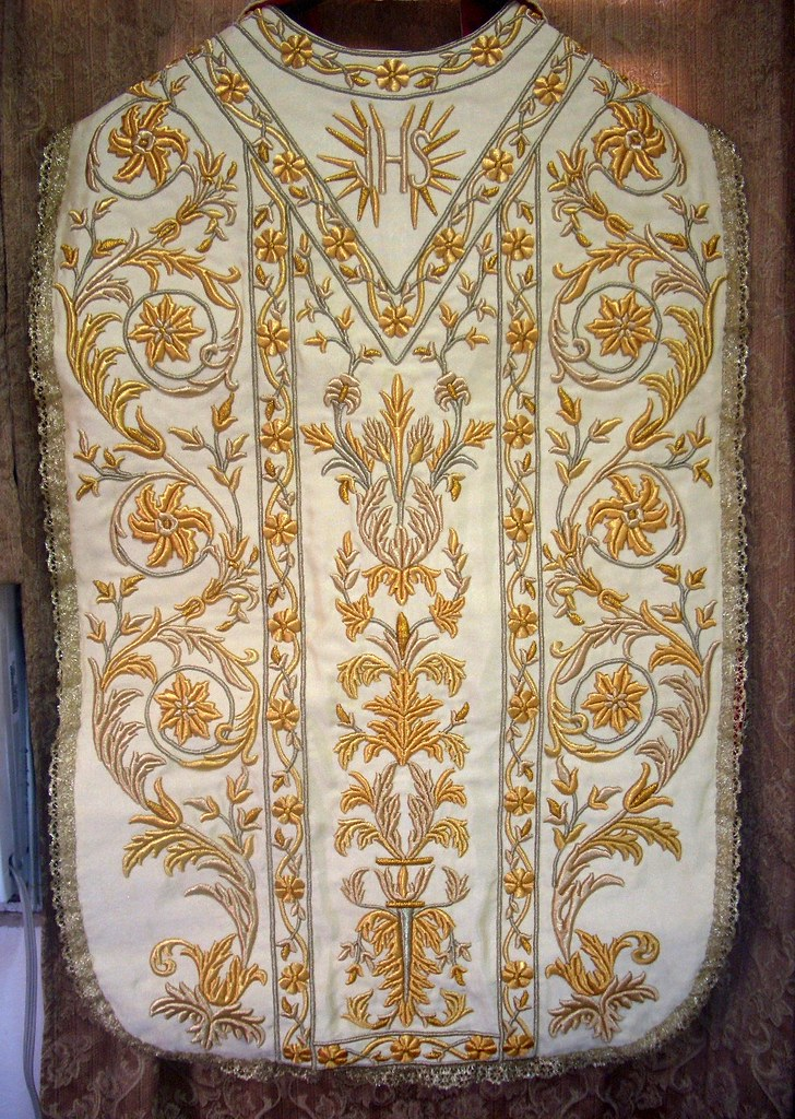 Hand embroidered roman chasuble back