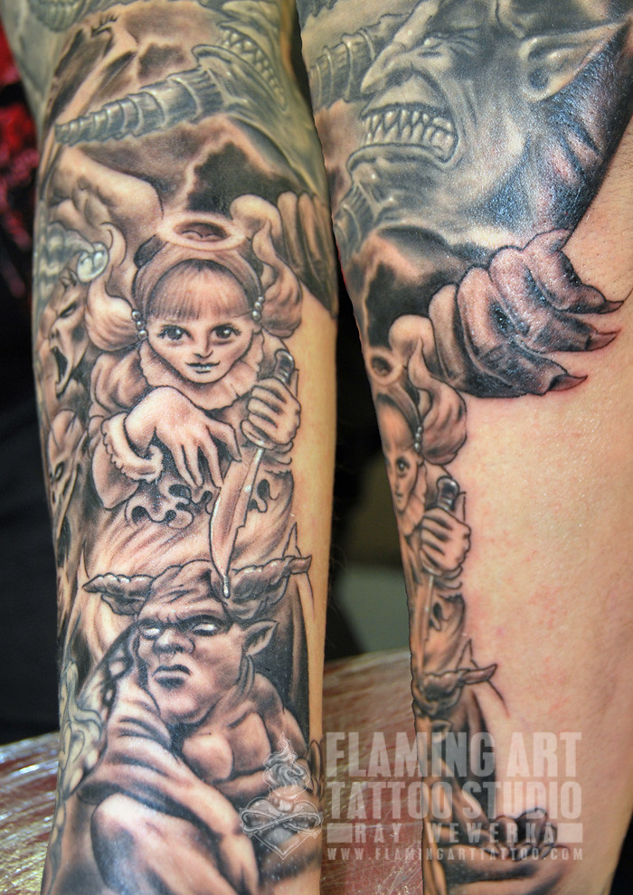Angel And Demon Sleeve Tattoos Angels And Demons Sleeve