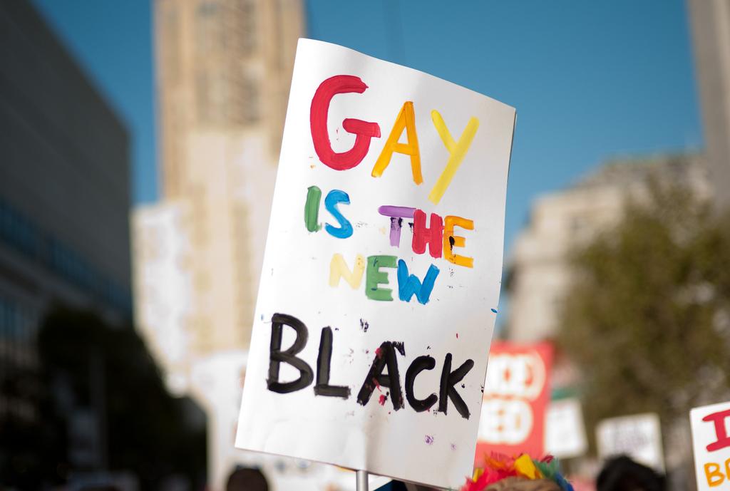 「同性戀是新黑人」(Gay is the New Black)口號傳遍全美。(圖片來源:Law Street Media)