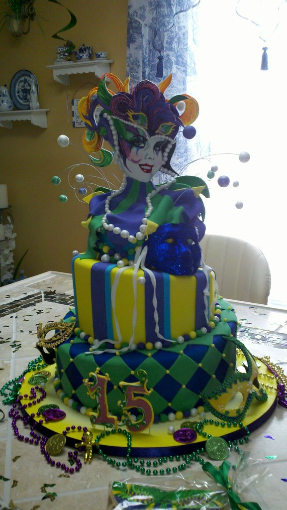 Mardi Gras Birthday Cake Each Tier Of Cake Was Layered