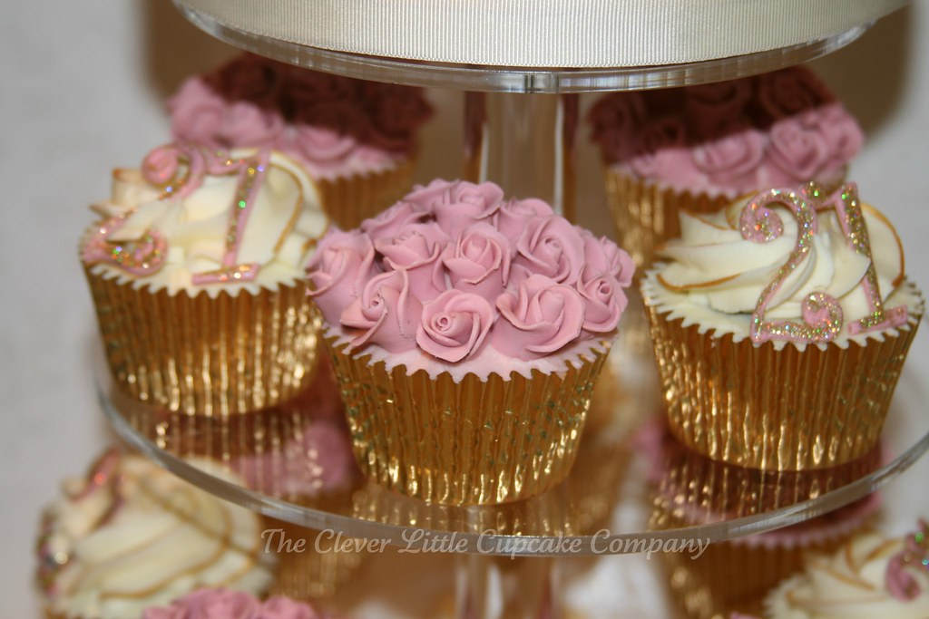 Cupcake Decorating Ideas 21st Birthday : 21st Birthday Cupcake Tower Close up detail of the ...