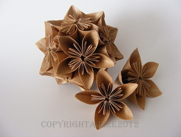 Brown Paper Kusudama Flower Ball And Individual Flowers Flickr