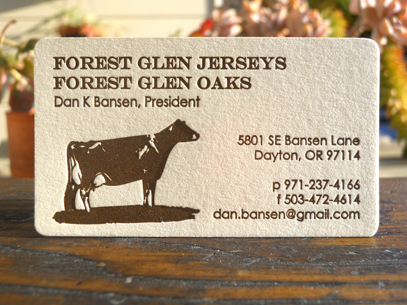 Dairy farmer business card | Letterpress printed and corners… | Flickr