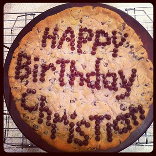 Birthday cookie cake with chocolate chip lettering | by Dawn Camp
