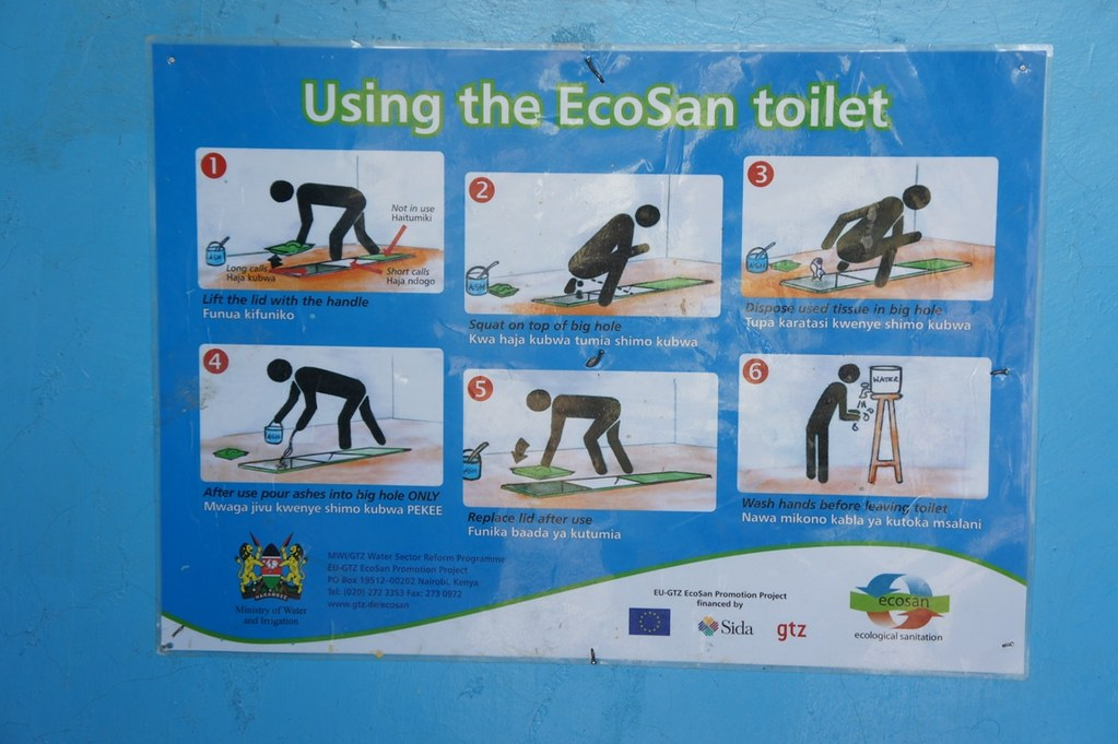 . Poster explaining how to use the toilet in English and Swa    Flickr