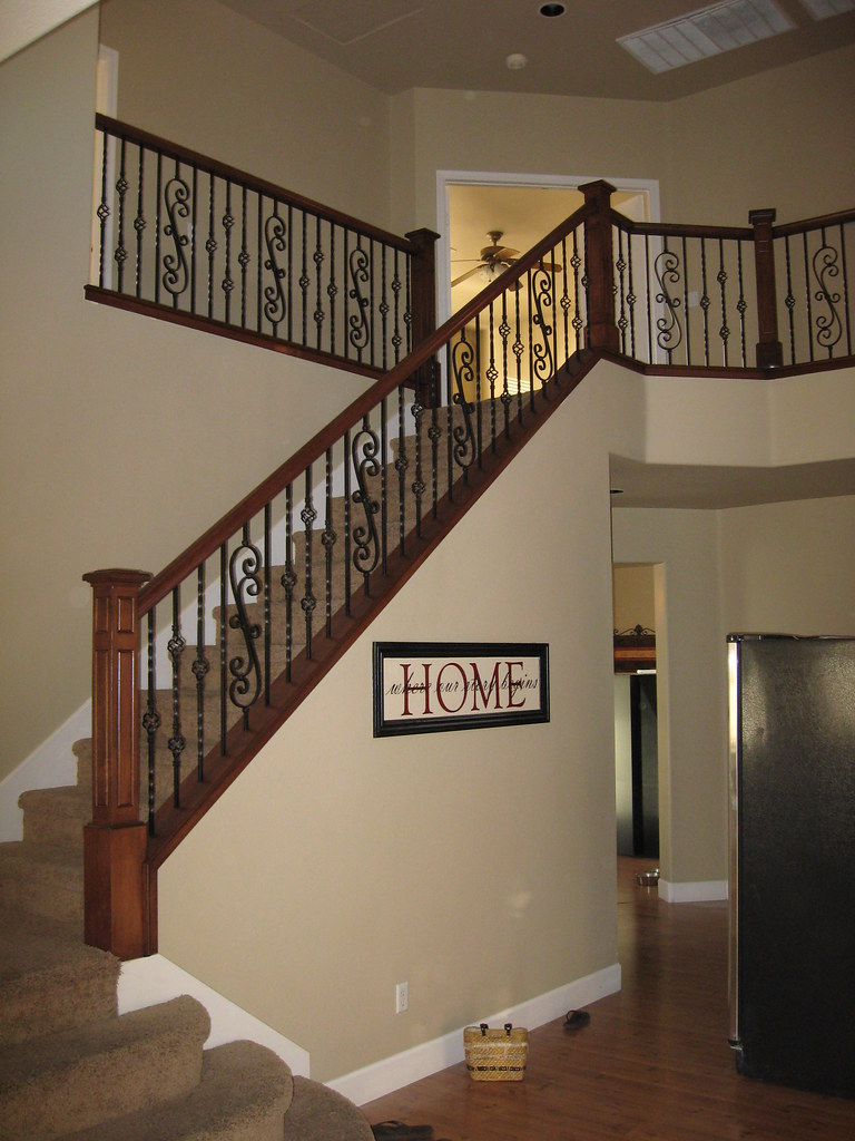 Maple Wood Railing With Box Newel And Scroll Panels Wrough
