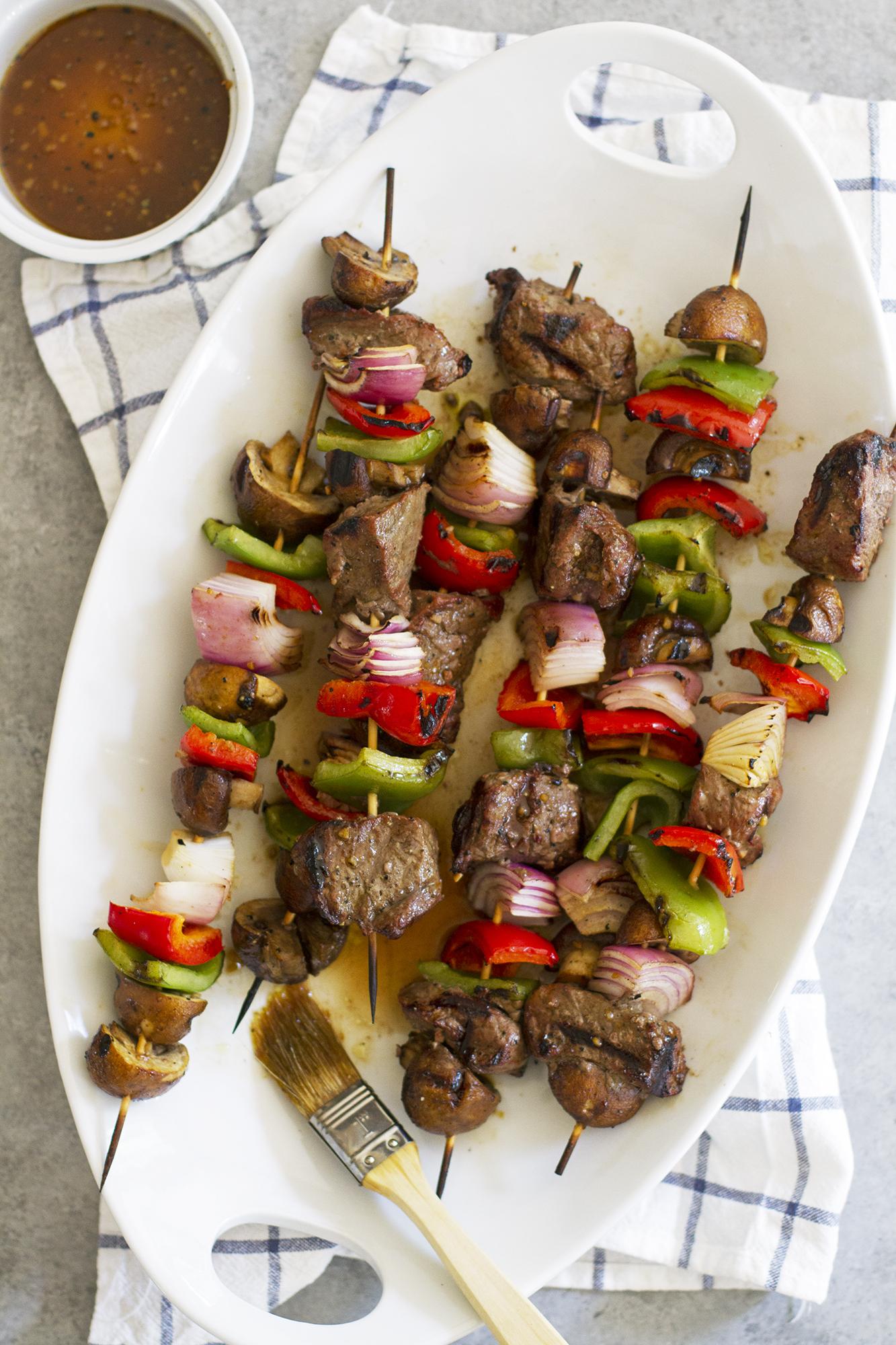 Grilled Steak and Mushroom Kabobs   girlversusdough.com @girlversusdough
