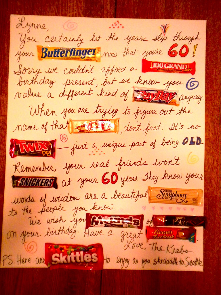 Candy Bar Greeting Card Our Friend Turned 60 And We