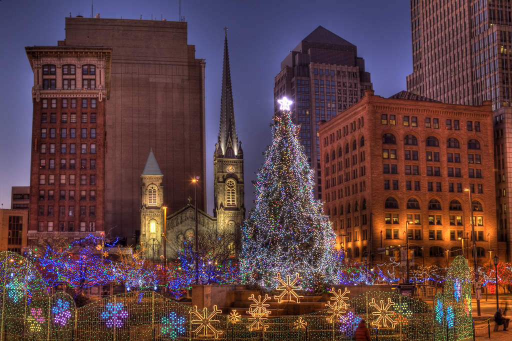 Public Square Christmas Downtown Cleveland Ohio Usa