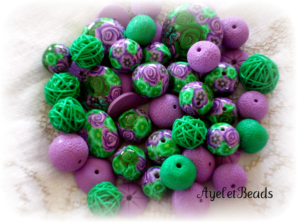 purple and green mix all handmade polymer clay beads clearly colours flickr. Black Bedroom Furniture Sets. Home Design Ideas