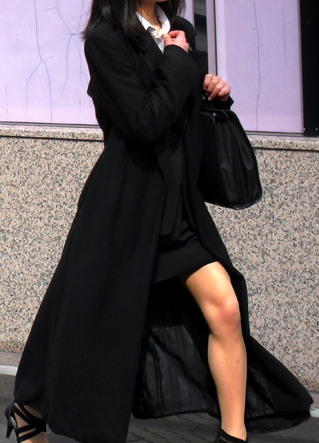 black maxi coat and black tight skirt suit flickr