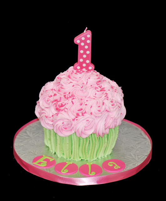 Smash Cake Ideas For First Birthday : giant cupcake cake first birthday smash cake pink and ...