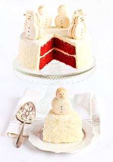 Christmas Red Velvet Snow Cake with Snowman Macarons | by raspberri cupcakes