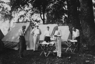 "The ""Vagabonds"" during Morning Ablutions on a Camping Trip, 1921 