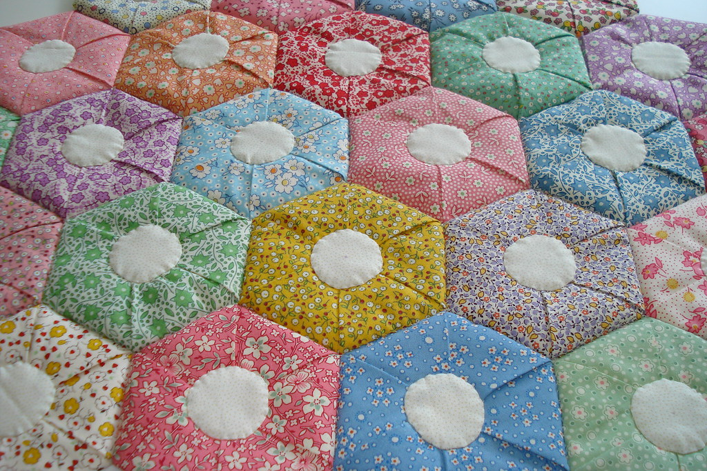30 S Folded Hexagon Quilt Folded Hexagon Quilt With