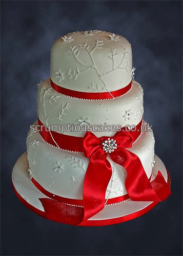 wedding cakes in red ribbon wedding cake 803 ribbon amp snowflakes paula 24756