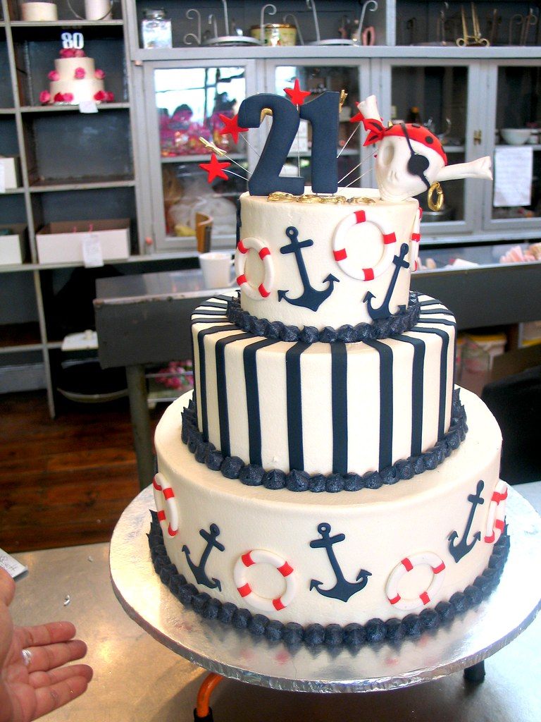 3 Tier Wicked Chocolate Nautical Themed Cake Iced In White