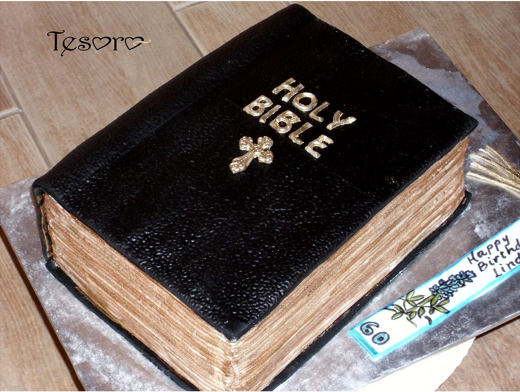 Bible cake lemon cake filled and frosted with lemon for Decorated bible