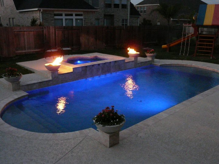 Pulliam pools pool and spa combo with fire bowls flickr for Pool with fireplace