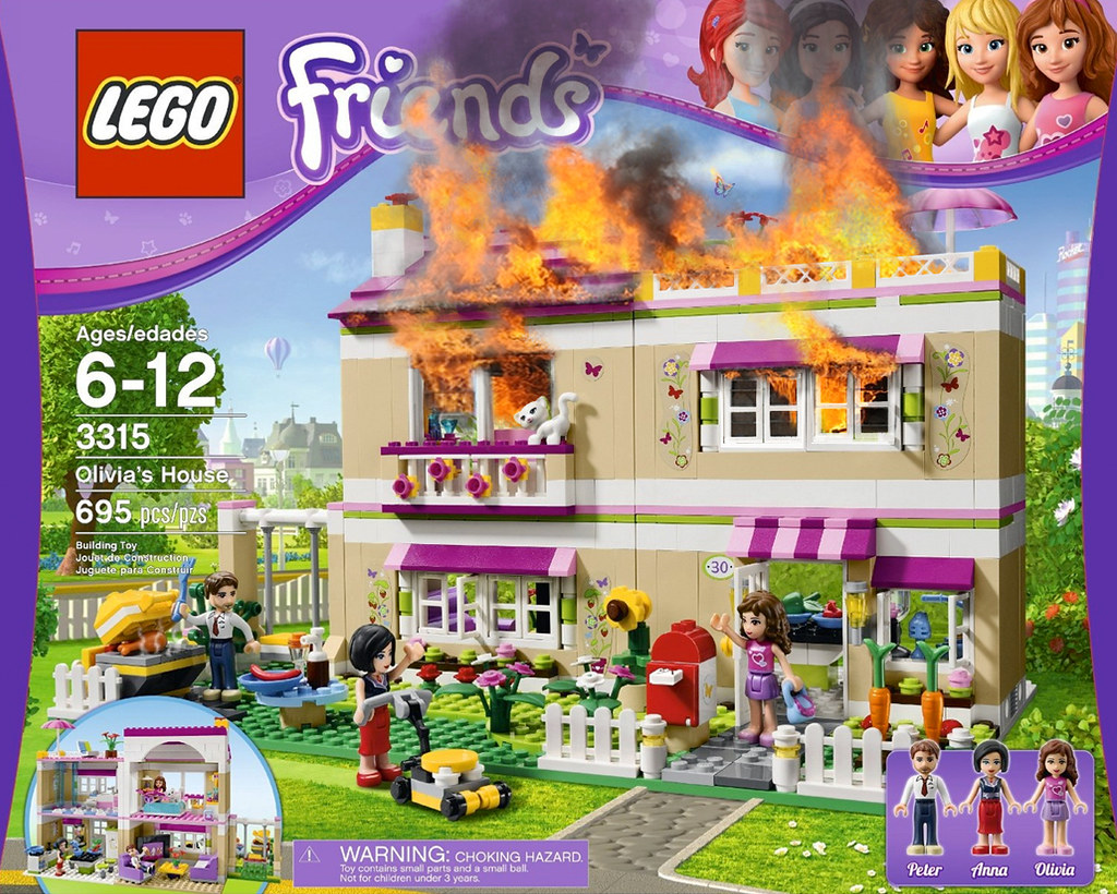"Oh no the LEGO ""Friends"" house is on fire! Now what?"