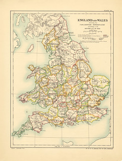 Map page of section XXIV England and Wales showing the Parliamentary Representation According to the Reform Act of 1832 from Part XXVII of Historical atlas of modern Europe from the decline of the Roman empire : comprising also maps of parts of Asia and o | by uconnlibrariesmagic