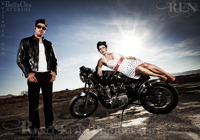 Vintage Pin Up Motorcycle Couple Vintage Pin Up Style