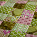 Baby quilt in pinks and greens