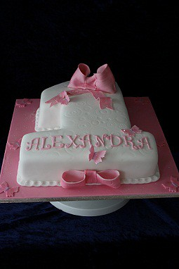 First Birthday Cake Images For Baby Girl : Baby Girl 1st Birthday Cake With Sugar Paste Bow and ...