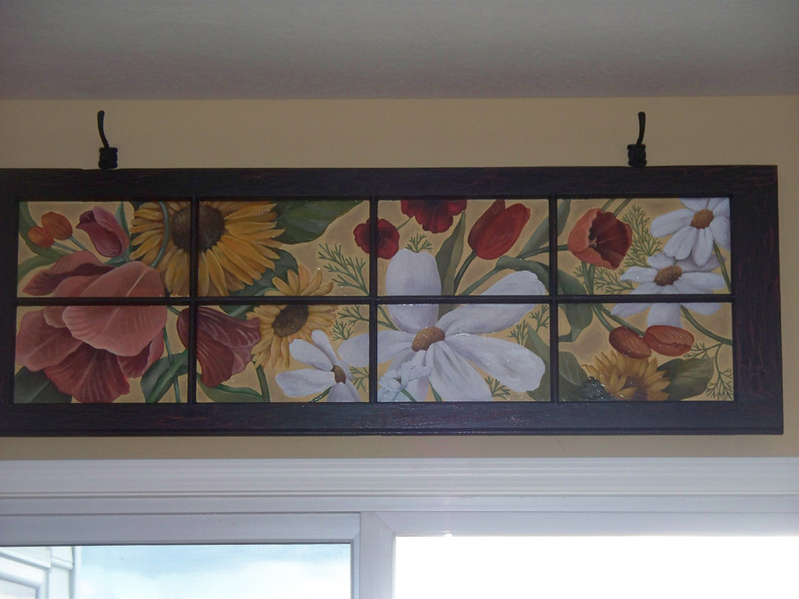 Hand Painted Vintage Windows With Floral Design Two Sets