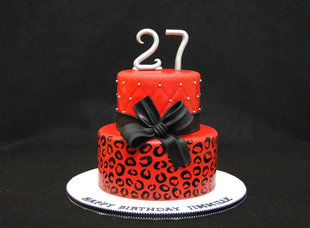 Images Of Red Birthday Cake : Red cheetah cake www.cakesbyelisa.com Facebook Cakes by ...