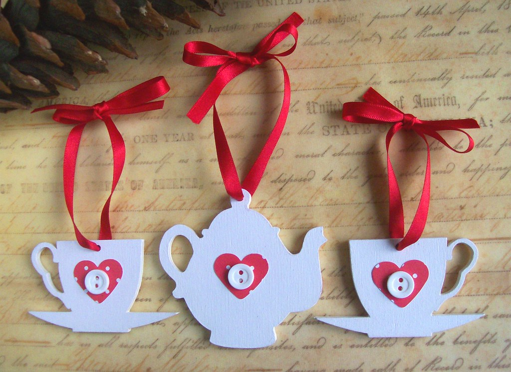 Wooden tea party christmas decorations white teapot and for R b party decorations