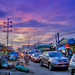 Purple Sunset Phnom Phen Cambodia Local Street Traffic