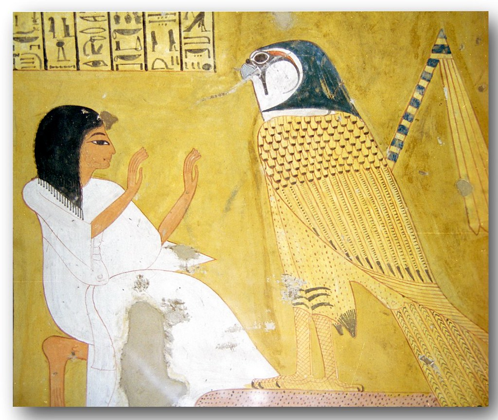 Deir el medina 1999 mural scene from the tomb of in her for Ancient egyptian mural