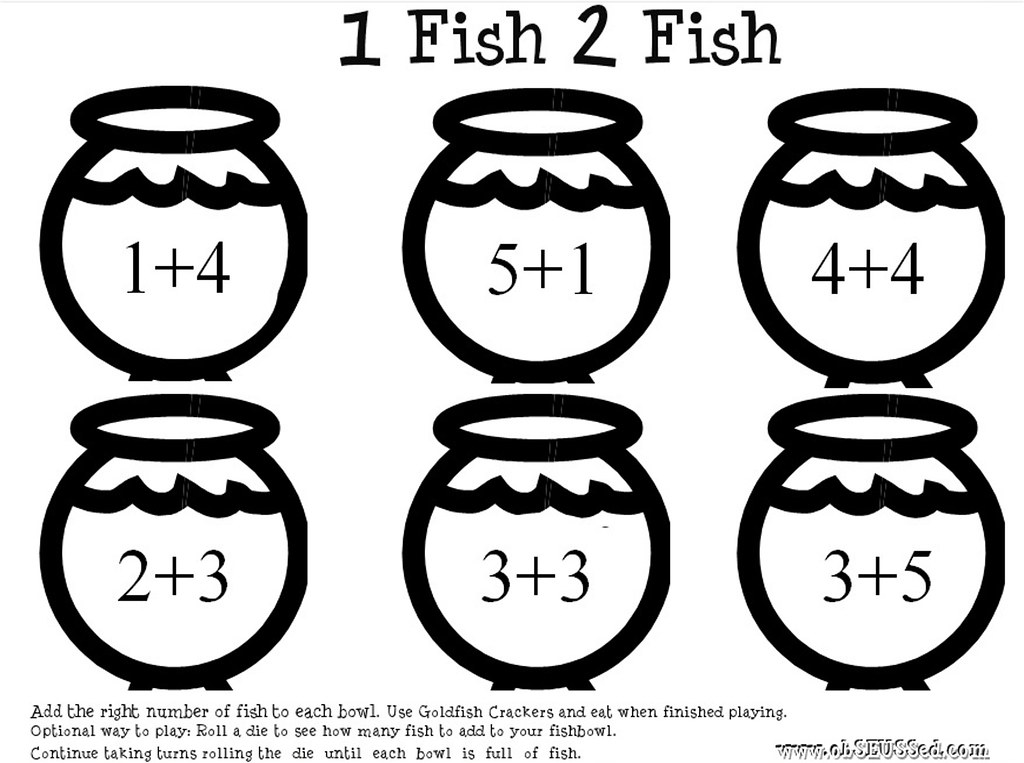 math worksheet one fish printable obseussed addition math www obseussed c flickr free printable