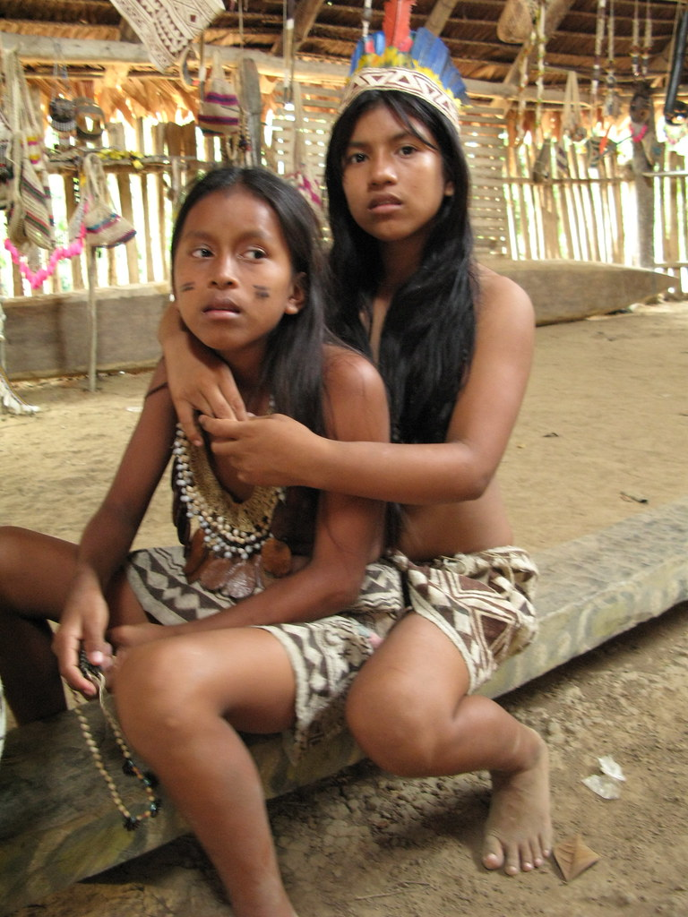 04 Two Bora Girls Near Iquitos Sit On Log After Selling So -1774